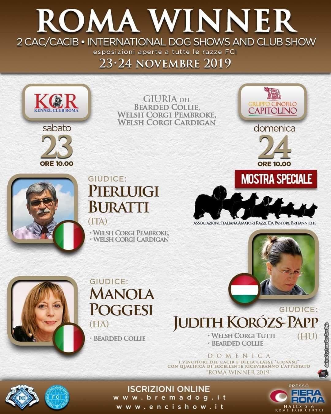 Risultati Esposizioni Internazionali di Roma del 23/24 Novembre 2019